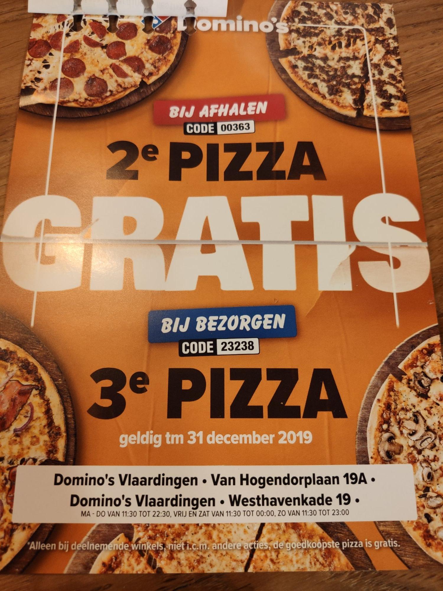 2e pizza gratis bij Domino's Vlaardingen