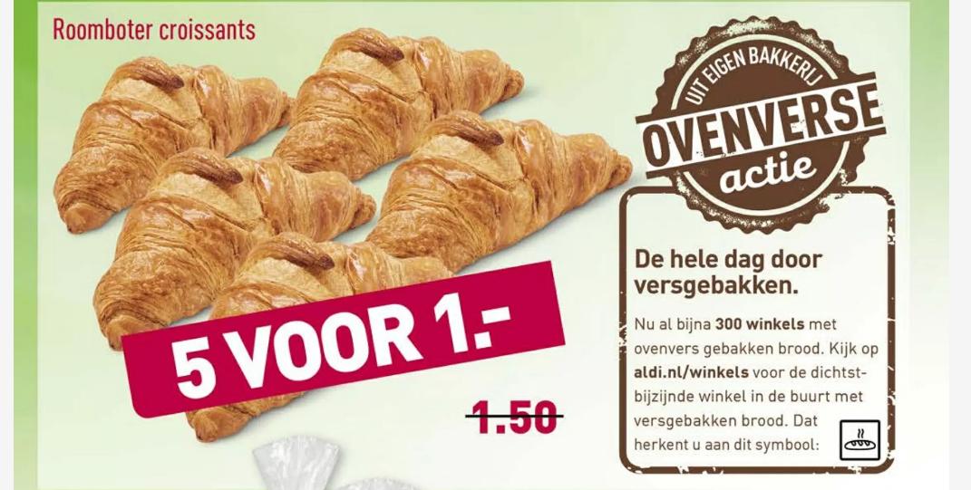5 croissants voor €1 bij Aldi