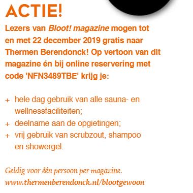 GRATIS naar Thermen Berendonck Nijmegen (waarde €36,50) voor lezers van Bloot! magazine