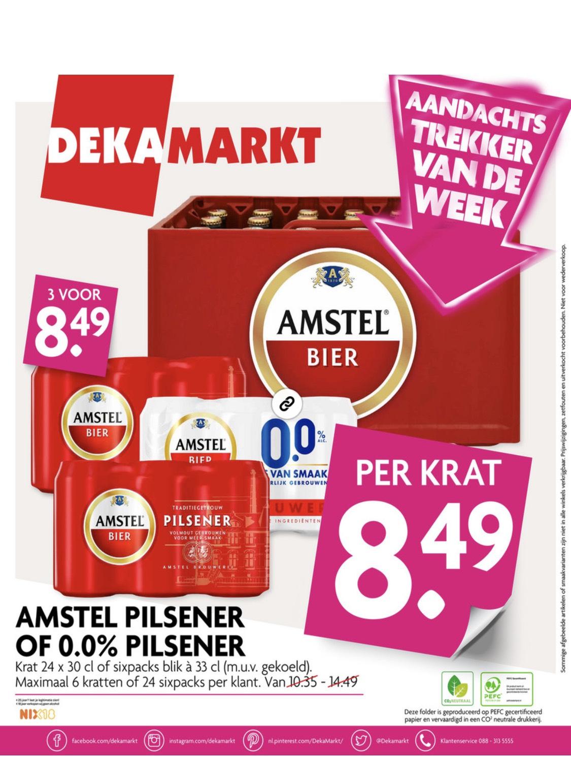Dekamarkt: 1 Krat Amstel bier of 3 sixpacks voor 8,49