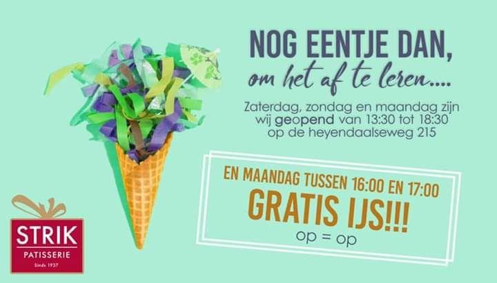 [Nijmegen] Gratis ijs bij strik (14 okt. 16:00 tot 17:00)