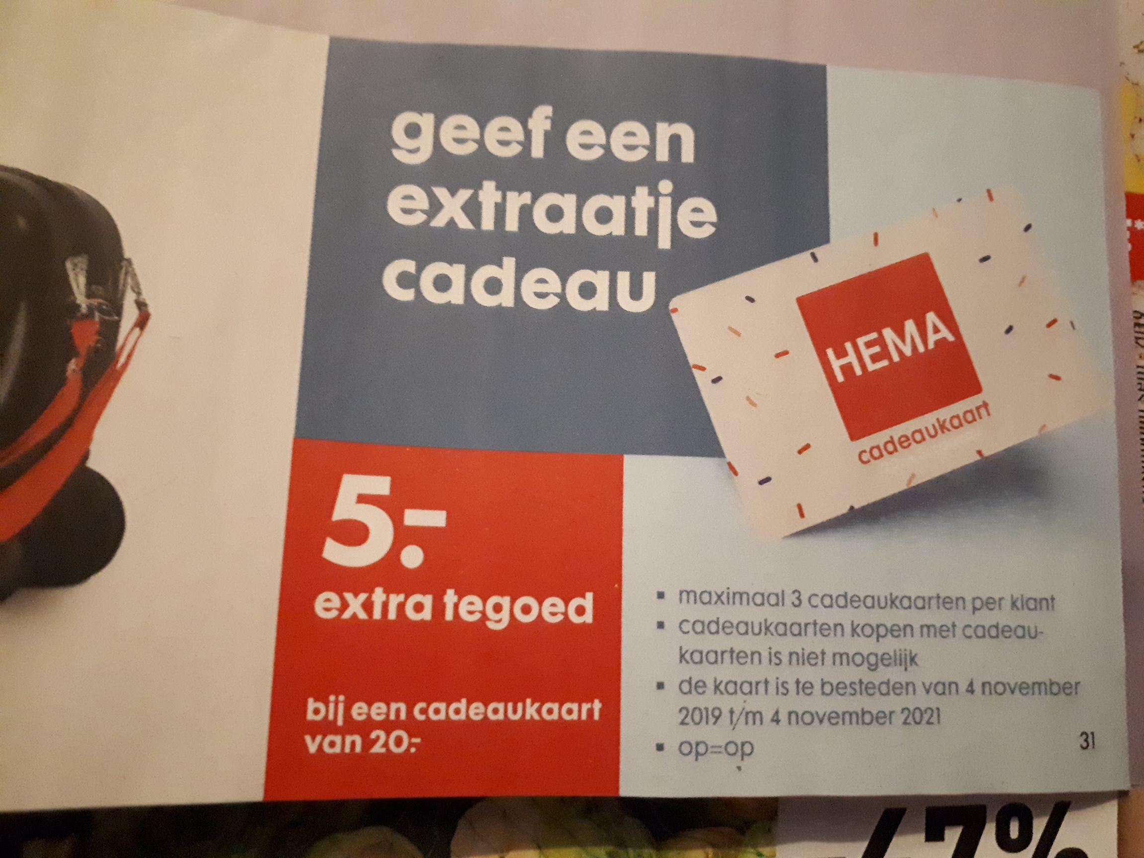 5euro extra tegoed bij een Hema cadeaukaart van 20euro