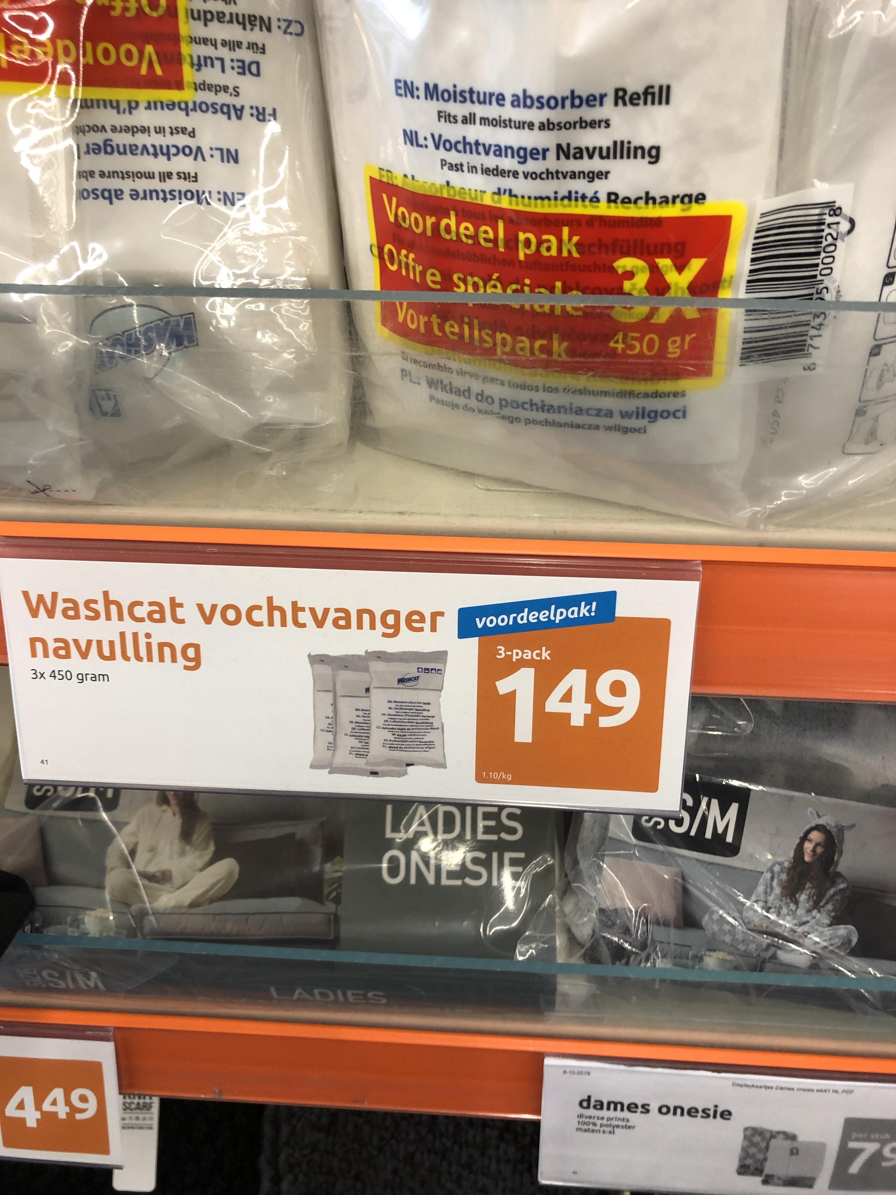 Voordeelverpakking washcat vochtvanger navulling. 0,55 los of 0,50 p.s. als voordeelverpakking