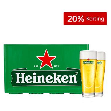 Kratje Heineken met 2 glazen voor €6,99
