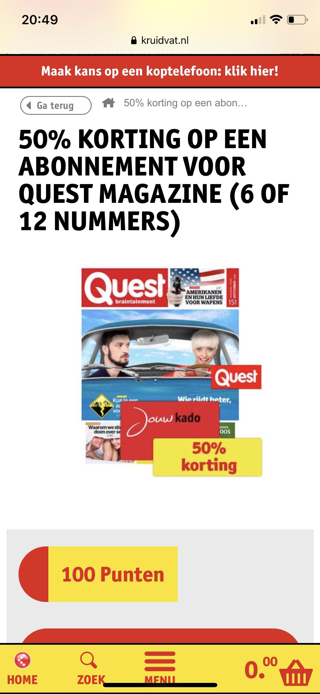 Kruidvat: 50% korting op abonnement Quest tegen inlevering van 100 punten