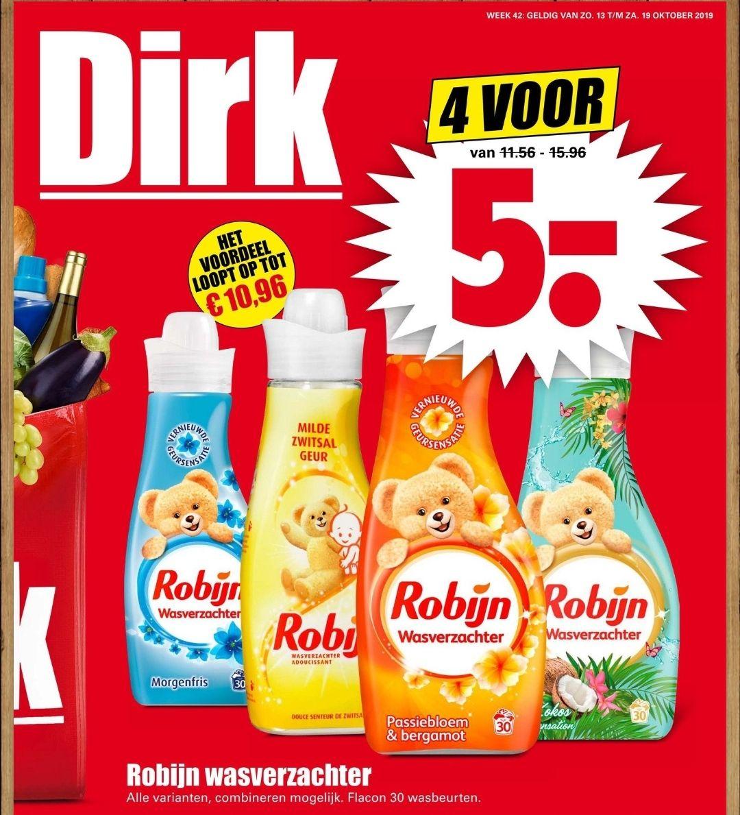 4 Robijn wasverzachter voor €5 bij Dirk