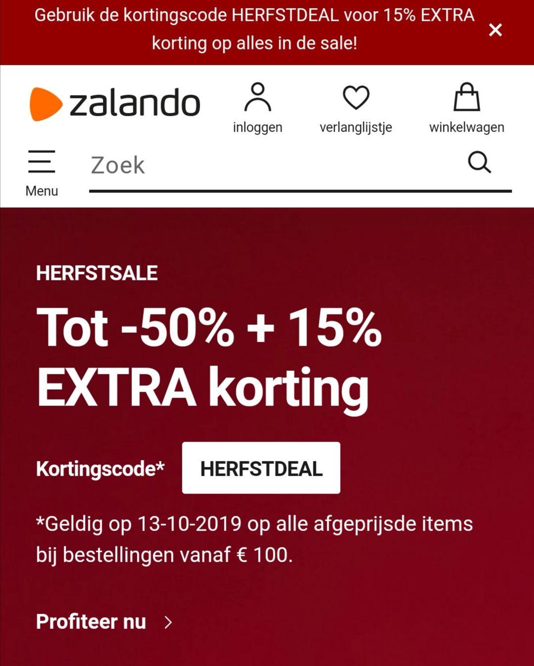 Zalando herfst sale + 15% extra korting vanaf €100