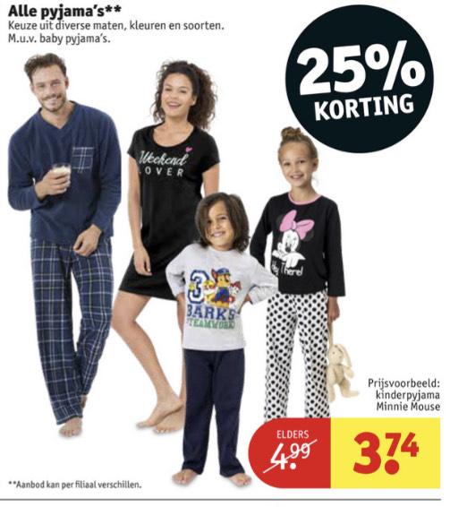 Alle pyjama's en huispakken 25% korting || Kruidvat