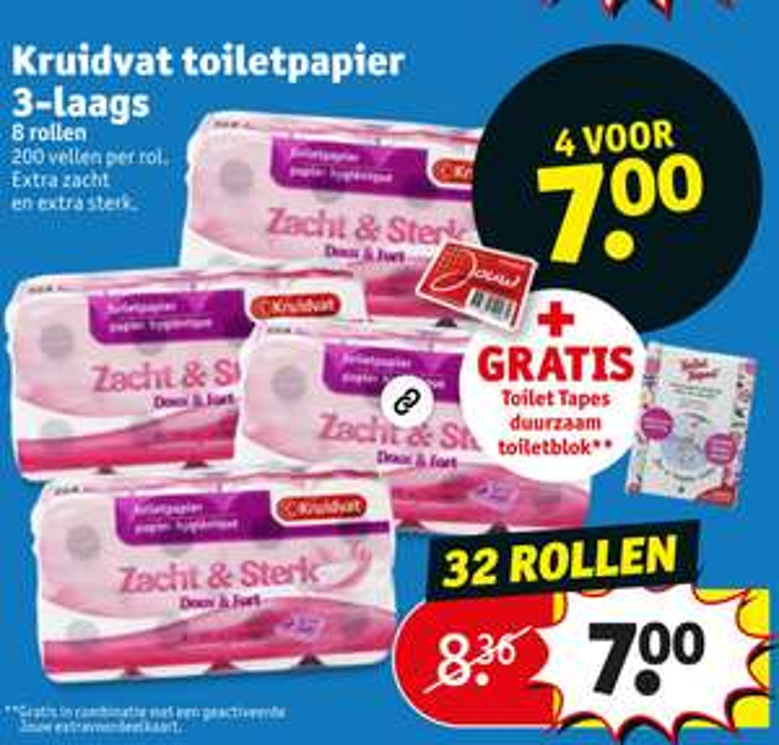 Kruidvat toiletpapier 4x voor 7 euro + toilettapes