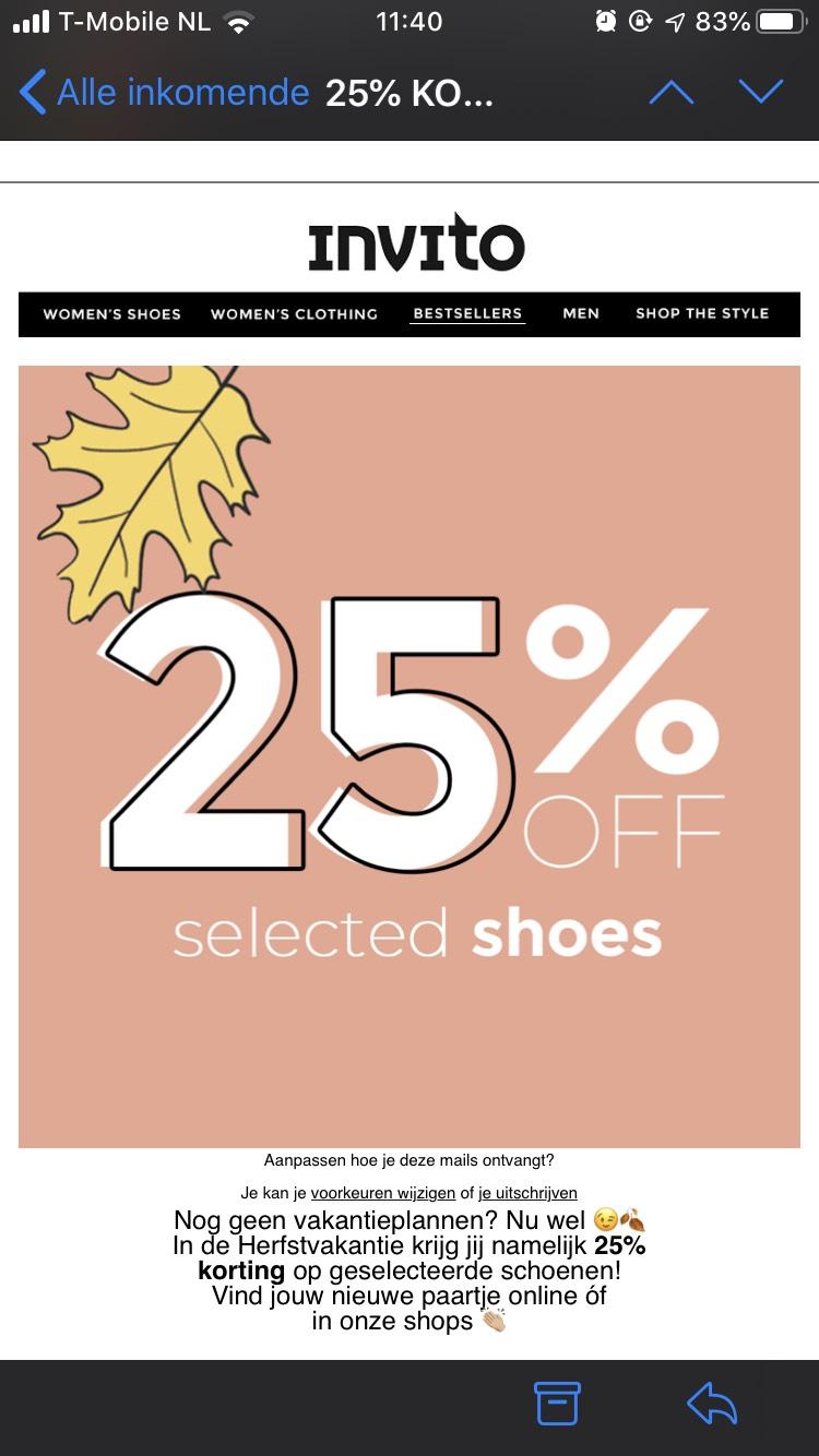 25% korting op geselecteerde schoenen @ invito