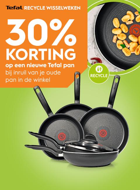 30% korting op Tefal pannen bij inlevering oude pan