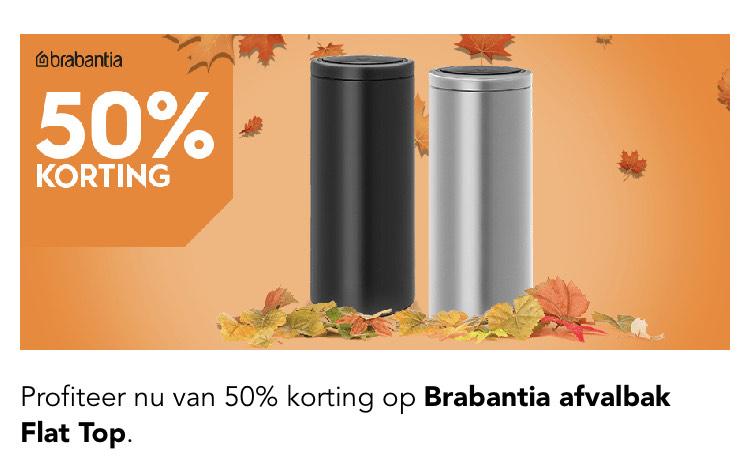 t/m 20 oktober 50% korting op Brabantia Flat Top prullenbakken || Blokker