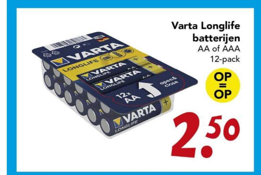 12 Varta aa of aaa batterijen voor €2,50 bij Deen