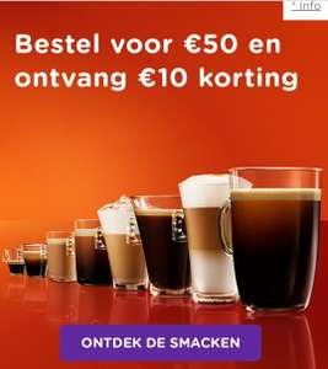 €10 korting vanaf €50 aan capsules bij Dolce Gusto
