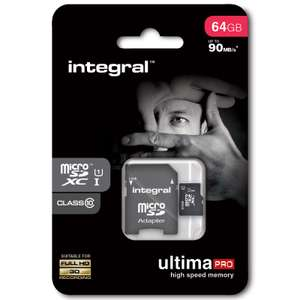 Integral 64GB Ultima Pro Micro SDXC UHS-I U1 Class 10 - 90MB/s voor €18,19 @ MyMemory