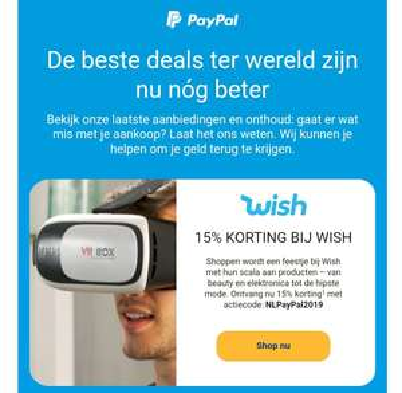 15% korting bij Wish met code en betalen met Paypal