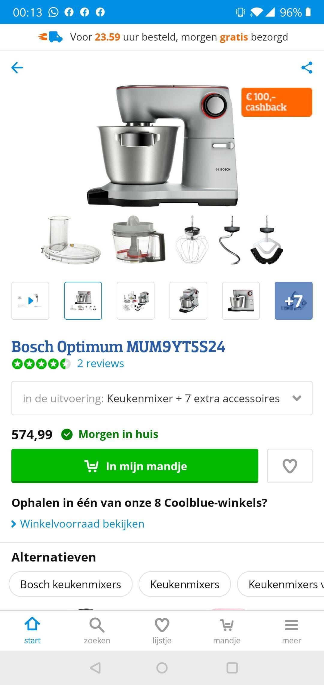 Bosch Optimum MUM9YT5S24 met €100 cashback