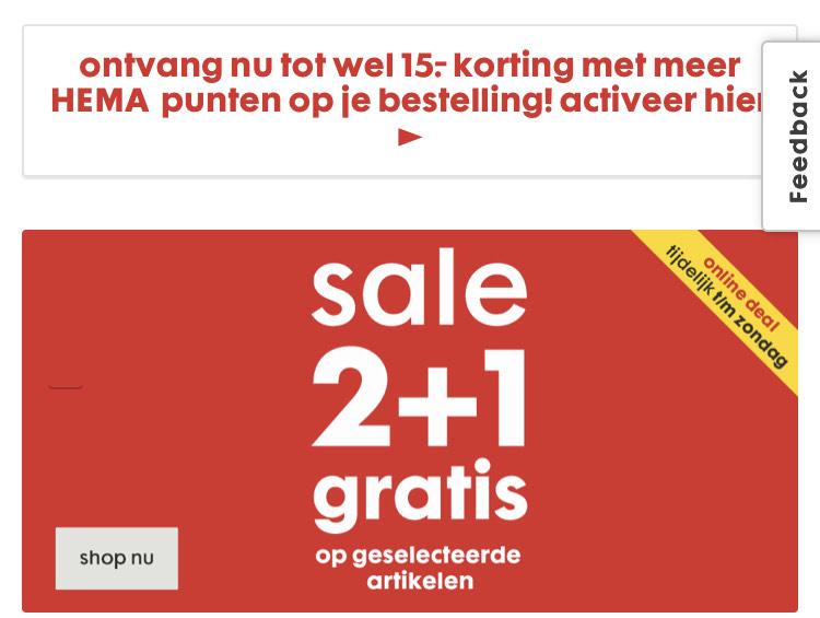 2+1 gratis op sale || Hema