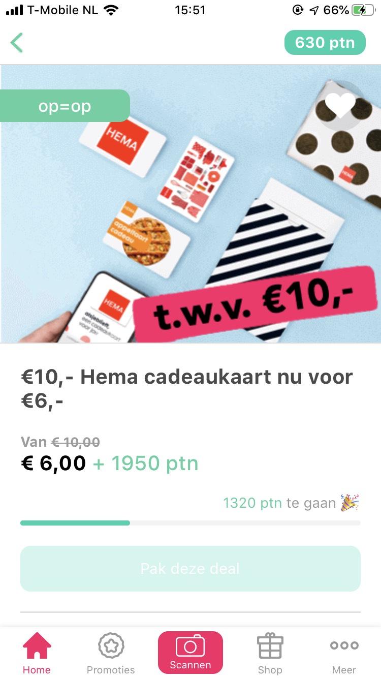 Hema 10 euro cadeaubon voor €6,- + punten