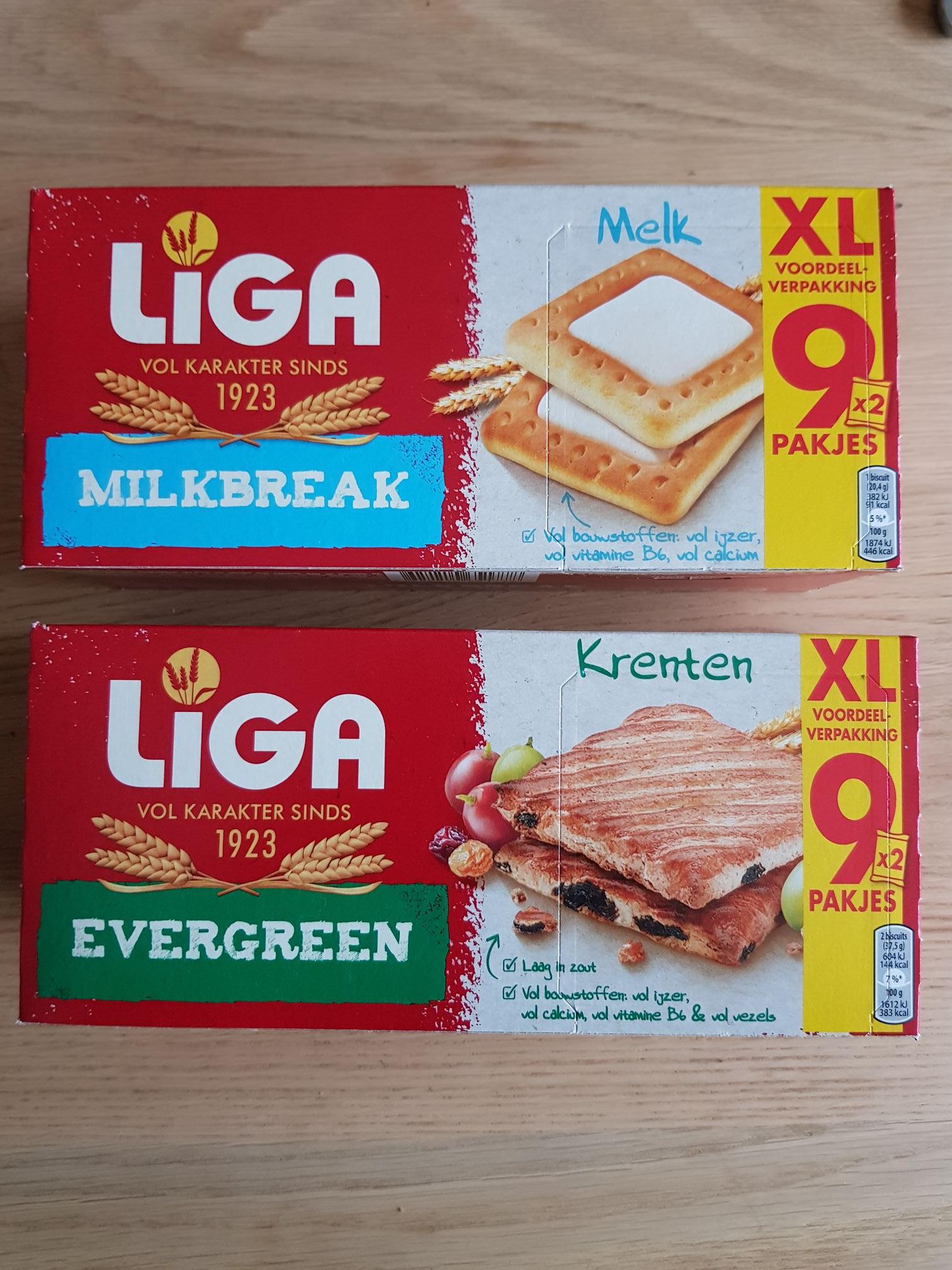 Liga Evergreen of Milkbreak, 9 stuks 1 euro!