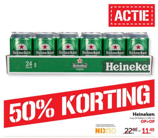 Heineken Tray 24 blikjes 0.33 voor slechts €11,49 / Laatste dag!