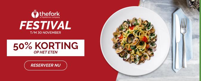 50% korting op eten bij bijna 1.000 restaurants met TheFork Festival t/m 30 november
