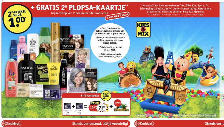 2e product €1.00 en gratis voucher voor 2e Plopsa-kaart