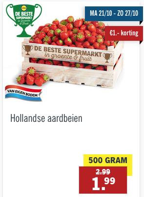 500 gr Hollandse aardbeien voor 1,99