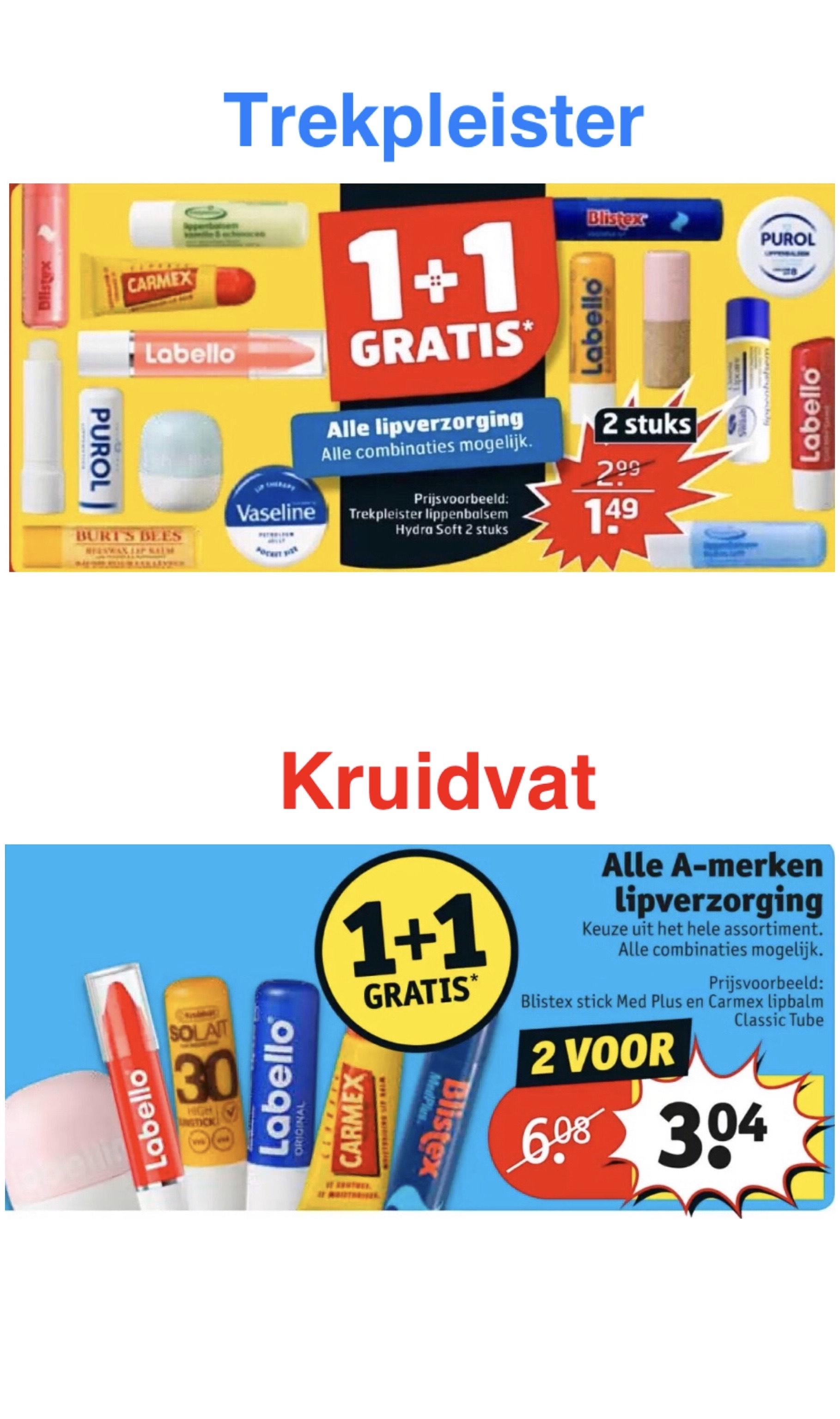 Alle lipverzorging 1+1 GRATIS @ Trekpleister én Kruidvat