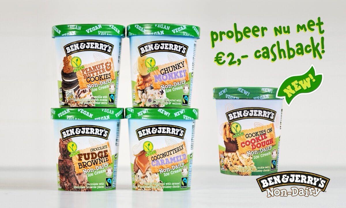 Probeer Ben & Jerry's Vegan met €2 cashback (Bij AH 1 pint €1,99)