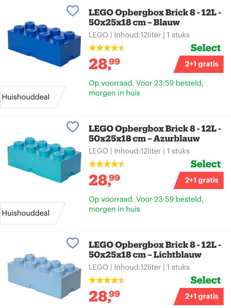 LEGO Opbergbox Brick 8 - 12L - 50x25x18 cm – 2+1 Gratis (bij afname van 3 stuks € 19,33 per stuk)