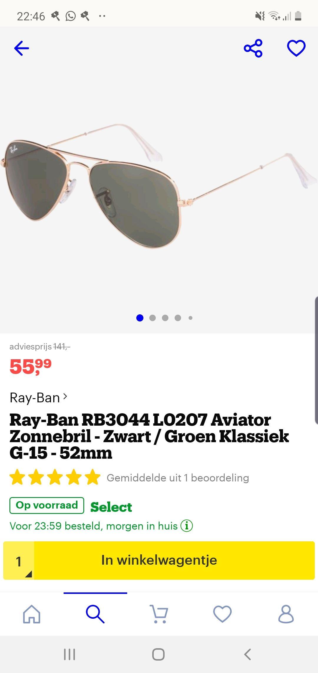 Rayban aviator Normaal 150 euro