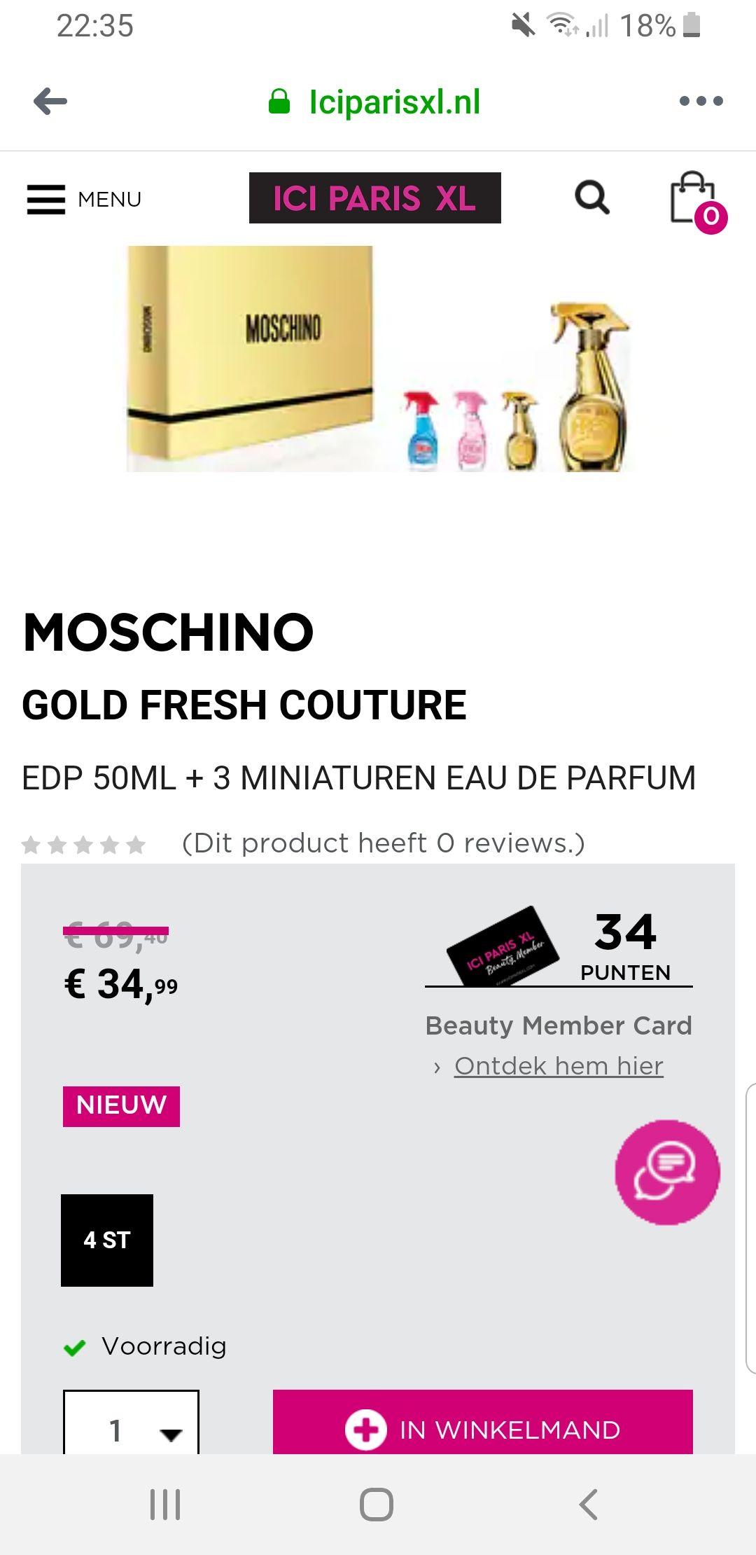 Moschino Gold Fresh Couture geschenkset @ ICI PARIS XL