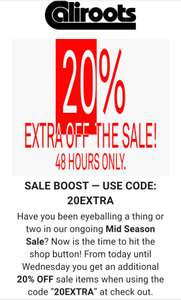 48uur SALE boost bij Caliroots, 20% extra off the sale.