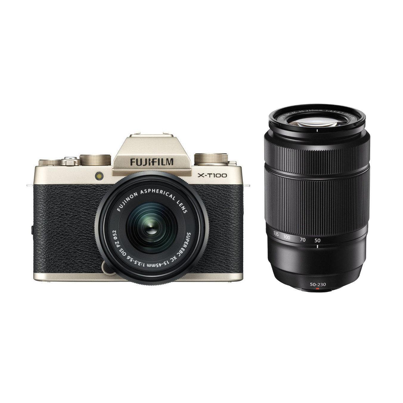 Fujifilm X-T100 + XC 15-45mm + XC 50-230mm Goud [Cameranu.nl]