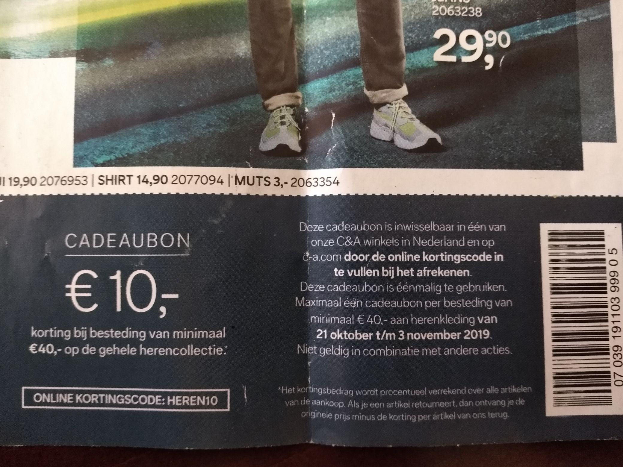 C&A 10 euro korting herenkleding vanaf 40 euro