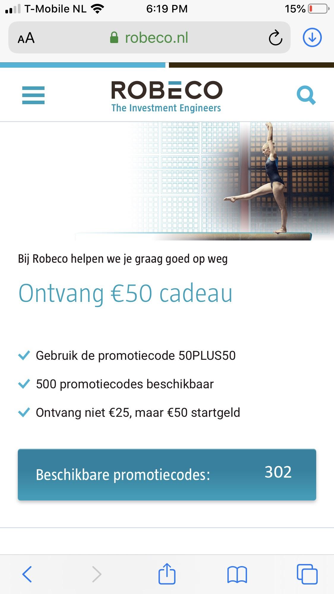 €50 gratis bij inleg van €50 @Robeco