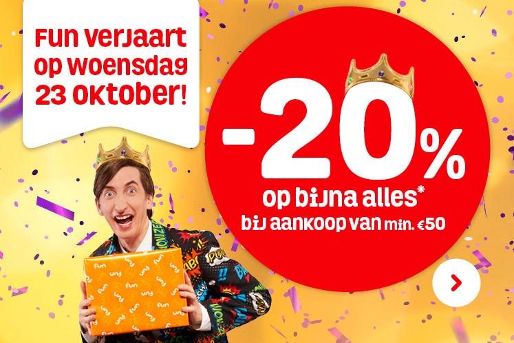 Vandaag 20% korting op bijna alles* bij aankoop van min. €50 @ Fun.be