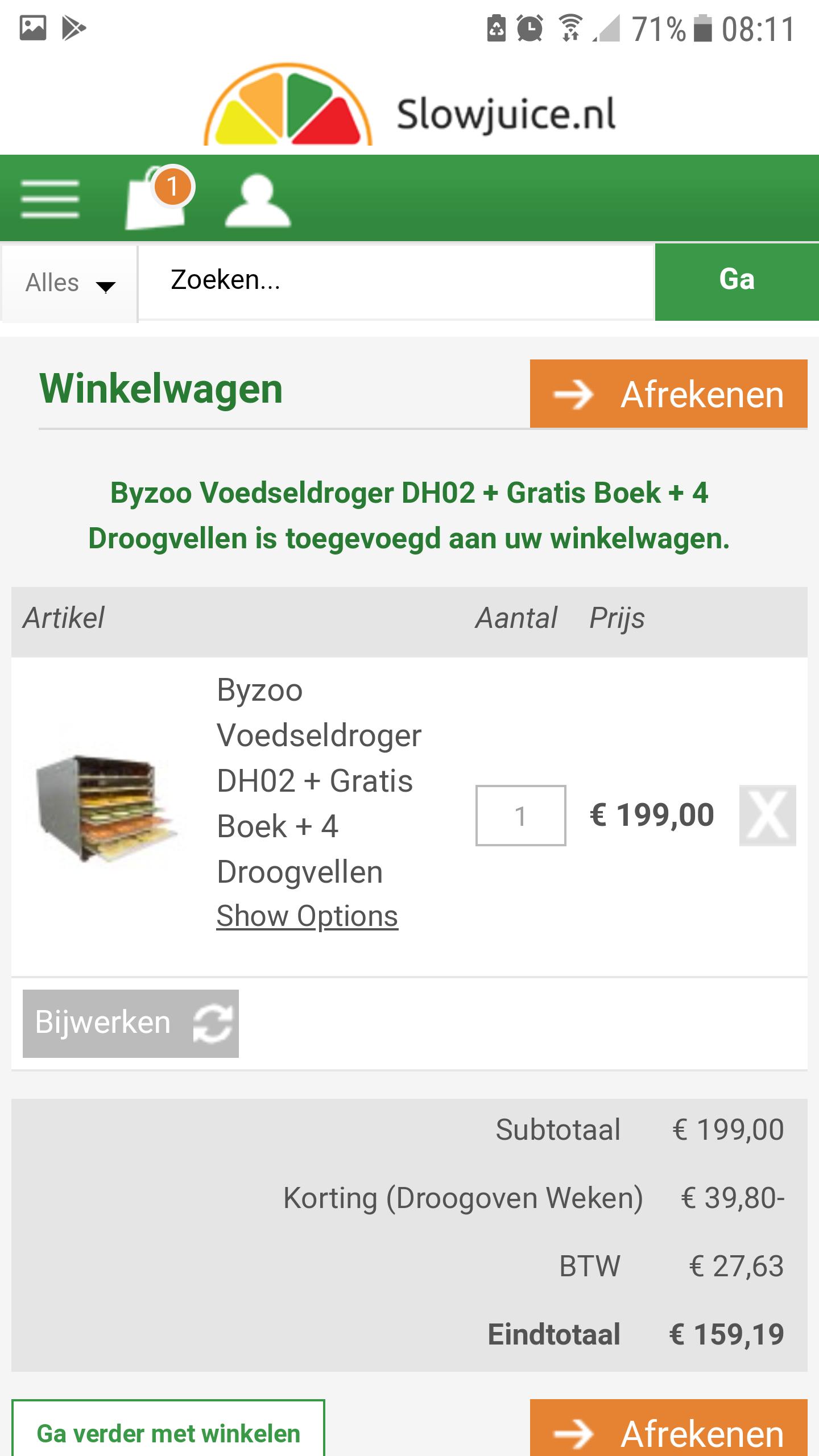 20% extra korting op Droogovens / voedseldrogers @ Slowjuice