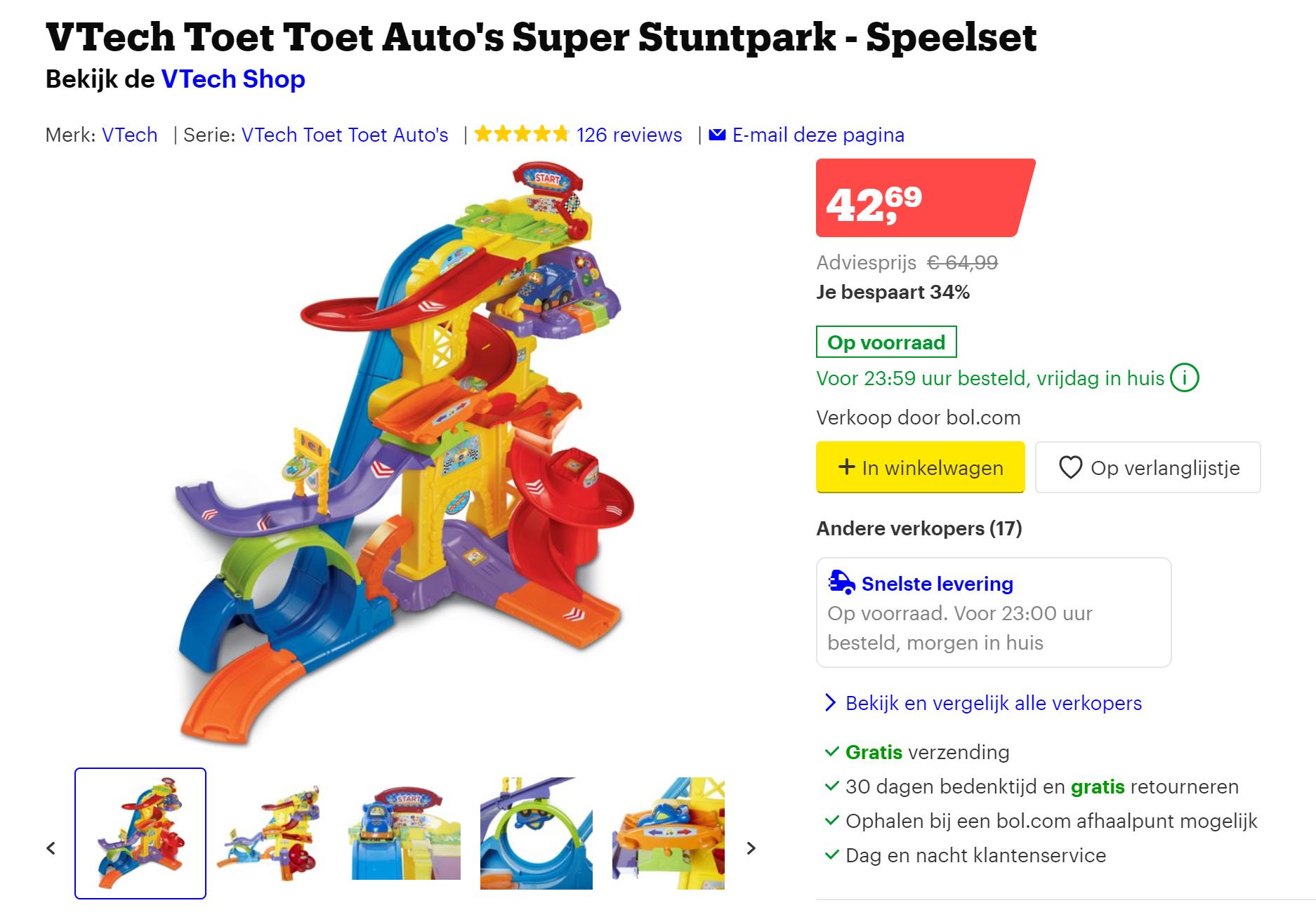 Dagdeal bij Bol.com tot 25% korting op VTech Toet Toet auto's en VTech Zoef Zoef dieren