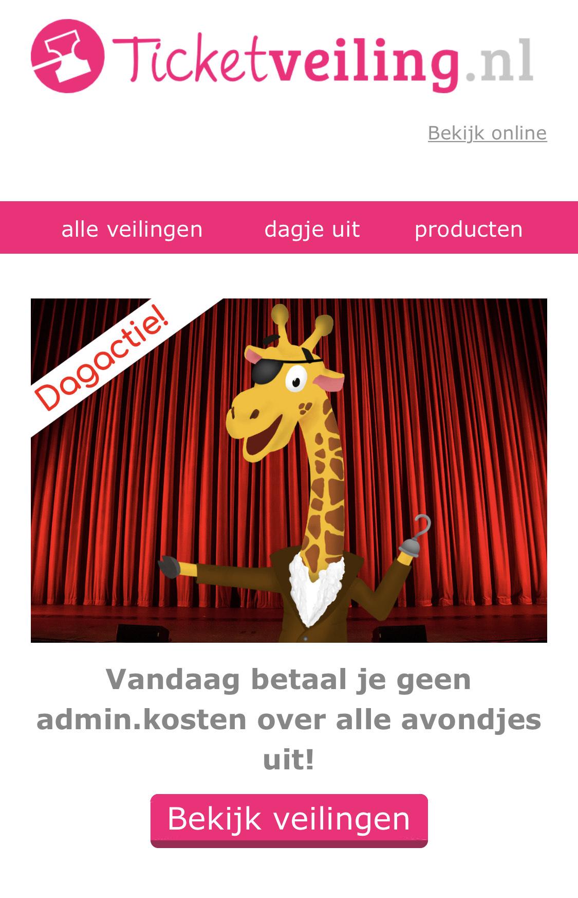 Geen administratiekosten tot 23:59 op Ticketveiling.nl