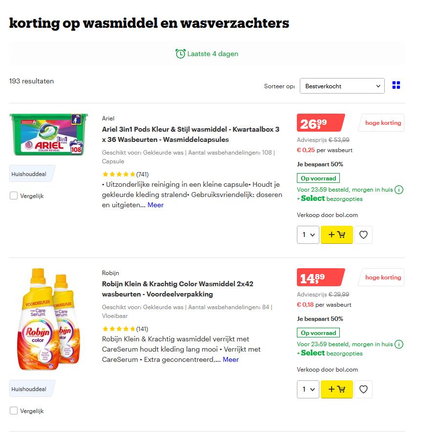 50% korting op wasmiddelen en wasverzachters bij Bol.com