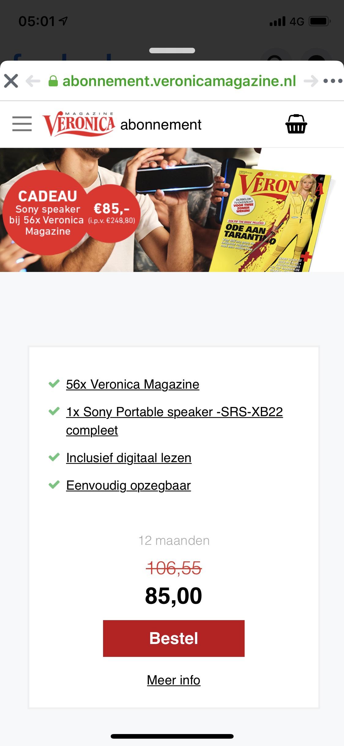 Gratis Sony speaker twv €120,- bij een Veronica magazine voor €85,- voor 1 jaar