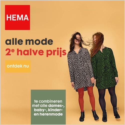 2e halve prijs op veel mode (dames/heren/kids) @ HEMA winkels en online