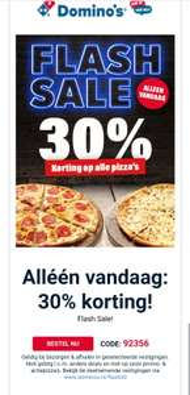 Domino's 30% korting op alle pizza's
