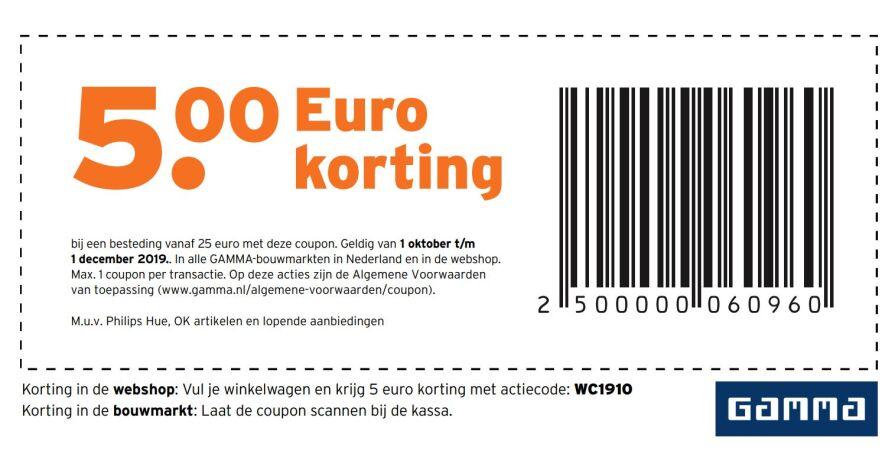 €5 korting bij besteding van €25 bij Gamma NL [Oktober]