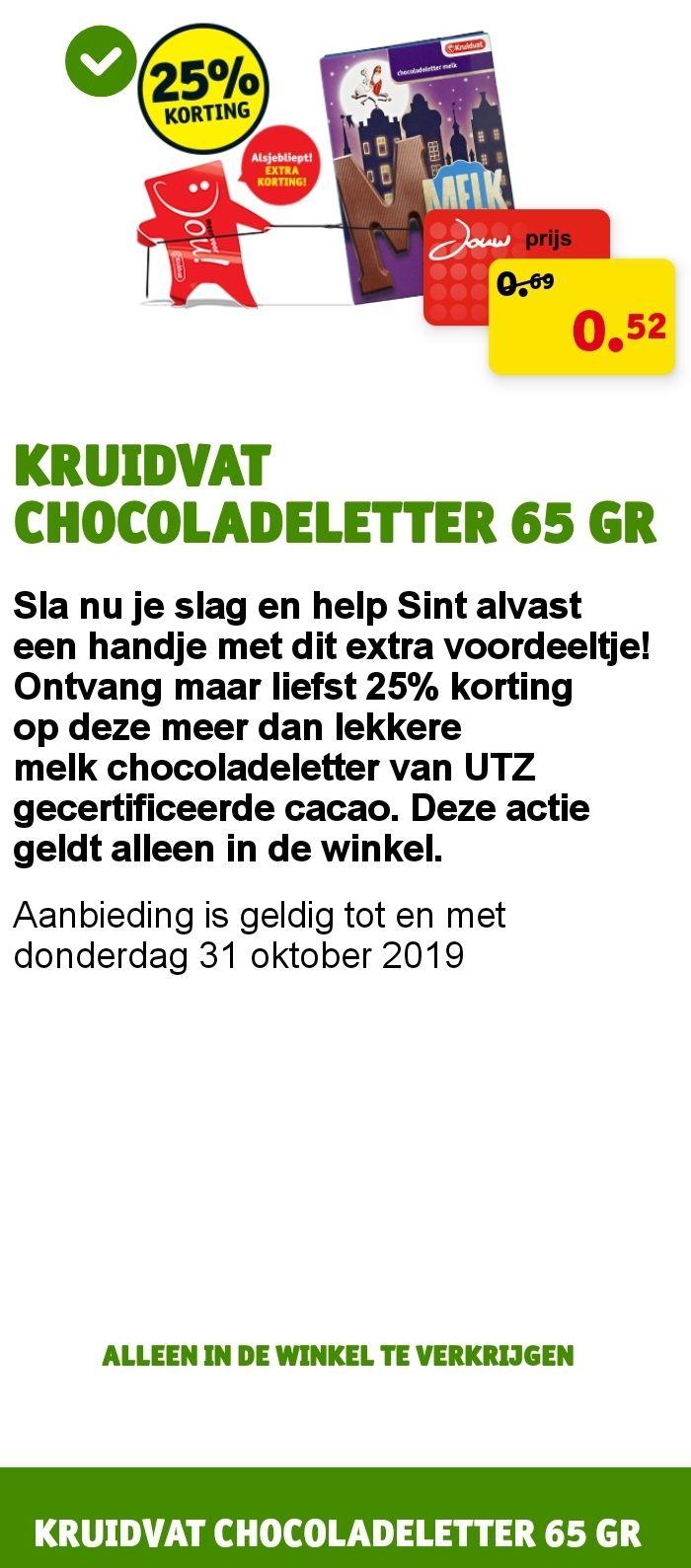 25% korting op chocoladeletter @ Kruidvat