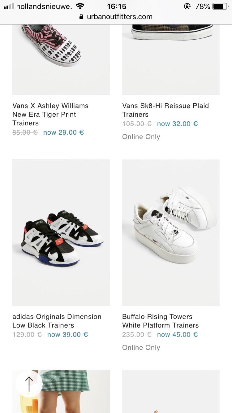 -60% -70% sneakers ver afgeprijsd op Urban Outfitters