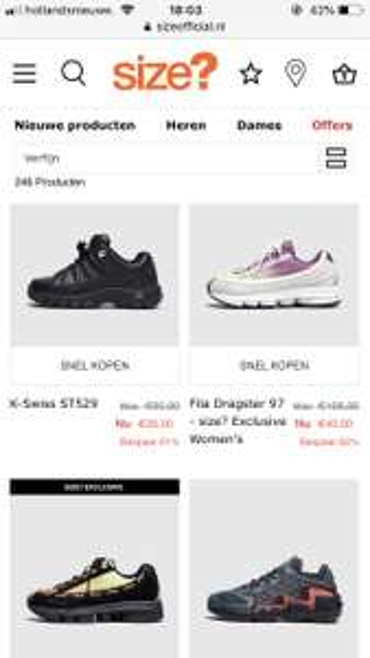 -60% -70% verschillende sneakers bij Size?