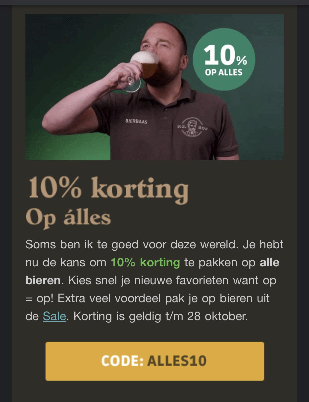 10% korting op alle bieren bij mr hop